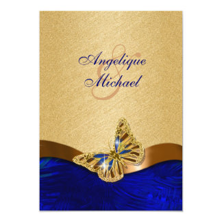 Blue gold brown butterfly wedding card