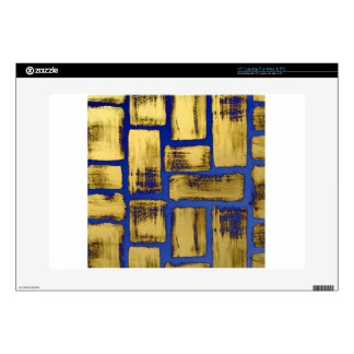 """Blue Gold Brushstroke Watercolor Pattern Decal For 15"""" Laptop"""
