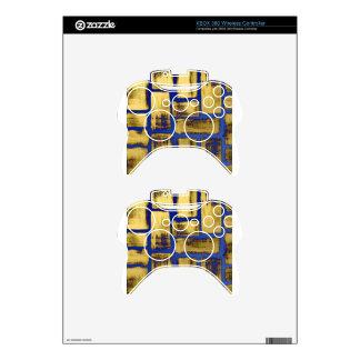 Blue Gold Brushstroke Watercolor Pattern Xbox 360 Controller Skin