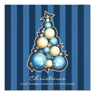 Blue & Gold Bubbles Christmas Tree Card