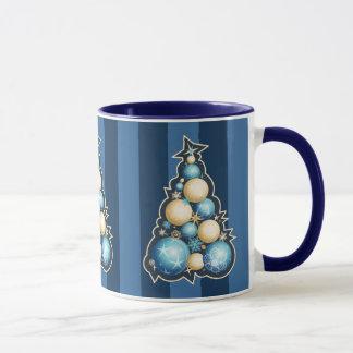 Blue & Gold Bubbles Christmas Tree Mug
