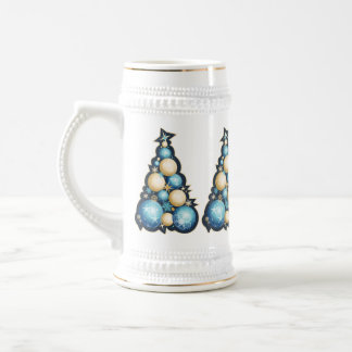 Blue & Gold Bubbles Christmas Trees 18 Oz Beer Stein
