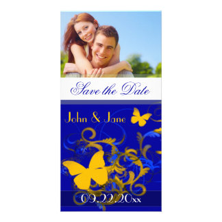 """(Blue/Gold) Butterfly /photo """"Save the Date"""" Photo Greeting Card"""
