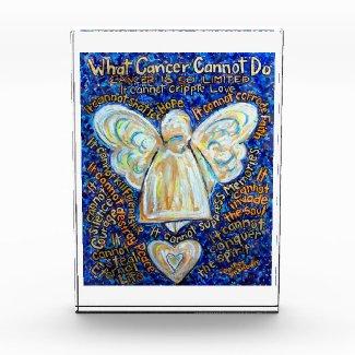 Blue & Gold Cancer Angel Custom Paperweight Award
