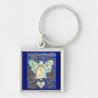 Blue + Gold Cancer Cannot Angel Art Key chain