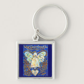 Blue   Gold Cancer Cannot Angel Art Key chain