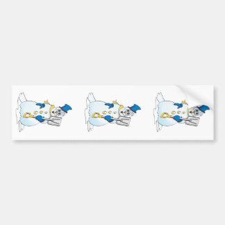 Blue Gold Cartoon Snowman Bumper Sticker