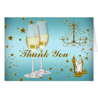 Blue gold champagne & chandelier Thank You Card