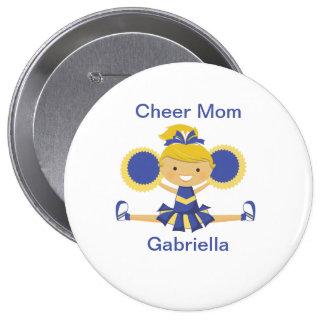 Blue & Gold Cheer Mom Cheerleader Button