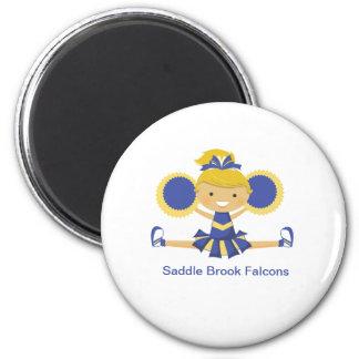 Blue & Gold Cheerleader 2 Inch Round Magnet