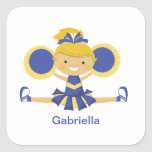 Blue & Gold Cheerleader Square Stickers