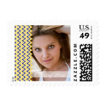 Blue gold chevron photo graduation postage stamps