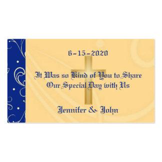 Blue, Gold, Christian Cross, Damask Wedding Favor Business Card Template