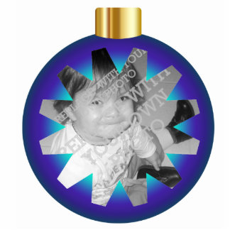 Blue & Gold Christmas Ball Photo Ornament Frame Cut Out