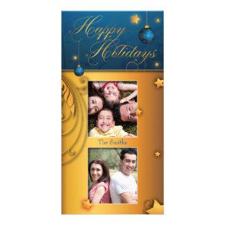Blue Gold Christmas Bulb Happy Holidays Photo Card