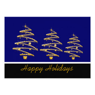 Blue gold Christmas holiday party Announcement