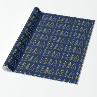 Blue Gold Christmas Trees Pattern Modern Wrapping Paper
