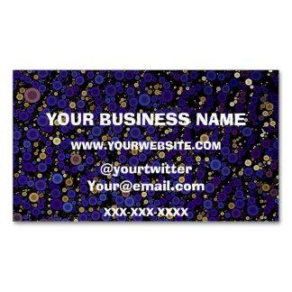 Blue Gold Circle Cheetah Abstract Business Card Magnet