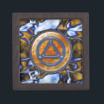 """Blue Gold Circle Triangle 2"""" Sober Recovery Box<br><div class=""""desc"""">Blue Gold Satin Circle Triangle 2x2 (or 3x3) Sober Sobriety Recovery Box - very popular design. The Blue and Gold Circle Triangle looks like glass and the background looks like satin. Press """"Customize"""" button to increase or decrease the size of the button on the background with the """" """" and...</div>"""