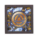 "Blue Gold Circle Triangle 2"" Sober Recovery Box Premium Keepsake Box"