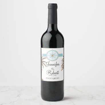 Beach Themed Blue Gold Compass Rose Beach Wedding Wine Label