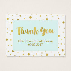 Blue Gold Confetti Bridal Shower Favor Tags at Zazzle