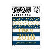 Blue Gold Confetti Graduation 2018 Stamps