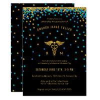Blue & Gold Confetti Nursing Graduation Invitation