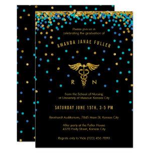 Nursing graduation invitations zazzle blue gold confetti nursing graduation invitation filmwisefo