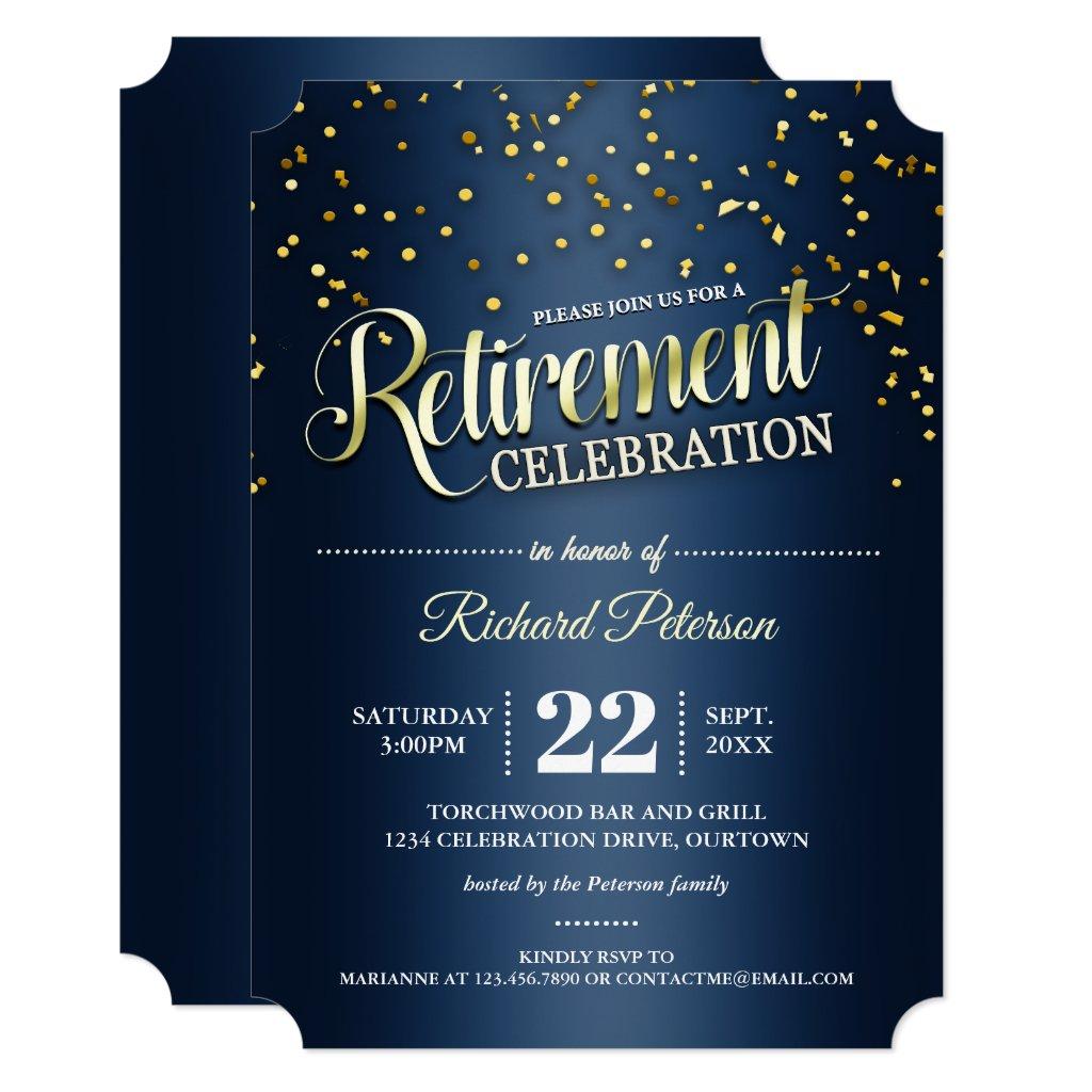 Blue|Gold Confetti Retirement Party Invitations
