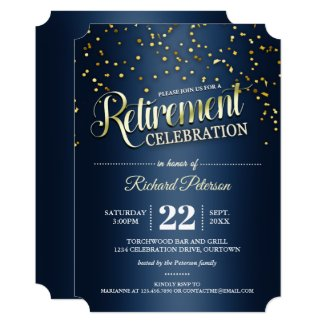 Blue|Gold Confetti Retirement Party Invitations