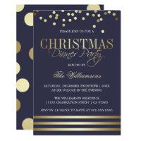 Blue Gold Confetti Stripe Christmas Dinner Party Invitation