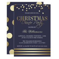 Blue Gold Confetti Stripe Christmas Dinner Party Invitation