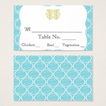 Beach Themed Blue Gold Coral Beach Wedding Place Cards