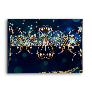 Blue & Gold Costume Masquerade Mask Birthday Party Envelope