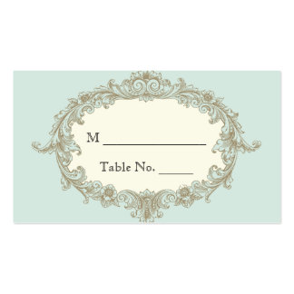 Blue Gold Cream Vintage Frame Wedding Place Cards Double-Sided Standard Business Cards (Pack Of 100)