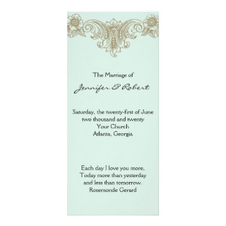 Blue Gold Cream Vintage Frame Wedding Program
