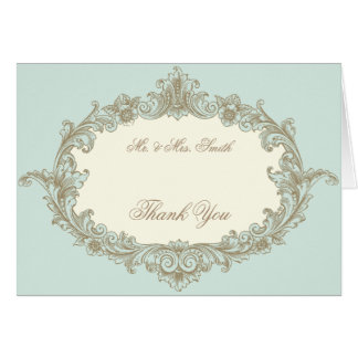 Blue Gold Cream Vintage Frame Wedding Thank You Card