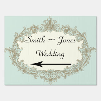 Blue Gold Cream Vintage Wedding Direction Sign