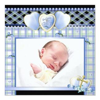 "Blue Gold Cross Black Blue Baby Boy Photo Christen 5.25"" Square Invitation Card"