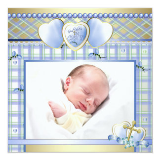 "Blue Gold Cross Blue Baby Boy Photo Christening 5.25"" Square Invitation Card"