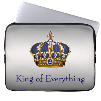 Blue Gold Crown King of Everything Laptop Computer Sleeve