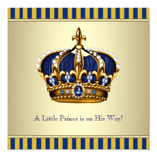 Blue Gold Crown Little Prince Baby Shower Card