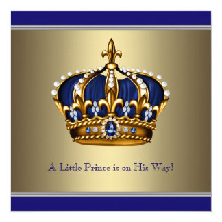 Blue Gold Crown Little Prince Boy Baby Shower Card