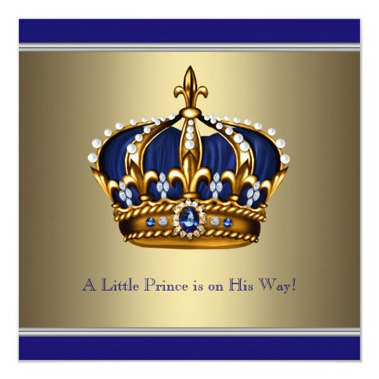 Crowns For Baby Shower: Blue Gold Crown Little Prince Boy Baby Shower Card