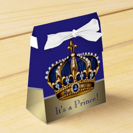 Blue Gold Crown Little Prince Boy Baby Shower Favor Box