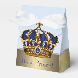 Blue Gold Crown Little Prince Boy Baby Shower Favor Box
