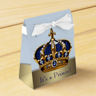 Blue Gold Crown Little Prince Boy Baby Shower Party Favor Box