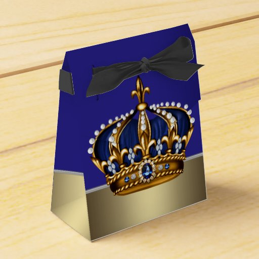 Blue Baby Shower Favor Boxes : Blue gold crown little prince boy baby shower favor boxes