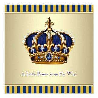 Blue Gold Crown Little Prince Boy Baby Shower Personalized Invites